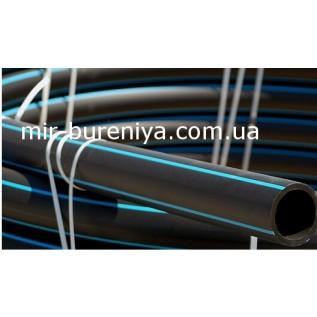 Труба поліетиленова чорна з синьою смугою д.63 мм(10 атм)