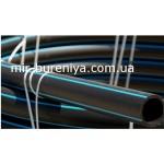 Труба полиэтиленовая черная с синей полосой